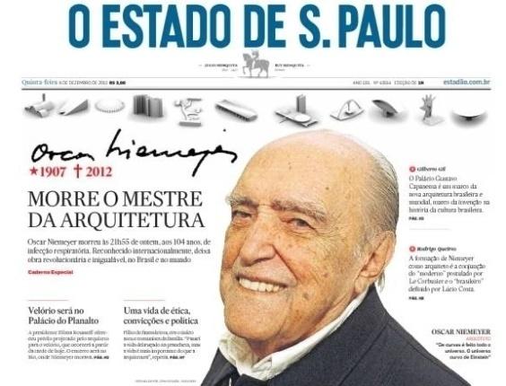 """6.dez.2012 - O jornal O Estado de S. Paulo chama Oscar Niemeyer de """"mestre da arquitetura"""""""
