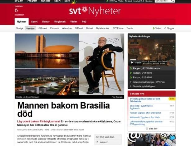 """6.dez.2012 - O site da rede de TV estatal sueca SVT fala da morte do arquiteto brasileiro Oscar Niemeyer, aos 104 anos, nesta quarta-feira (5). O texto o chama de """"super arquiteto"""""""