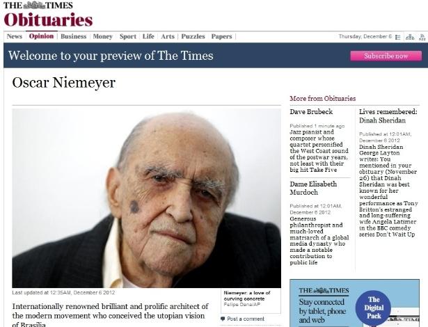 """6.dez.2012 - O site do jornal britânico The Times lembra que Niemeyer """"concebeu uma visão utópica de Brasília"""", cidade que ajudou a projetar"""