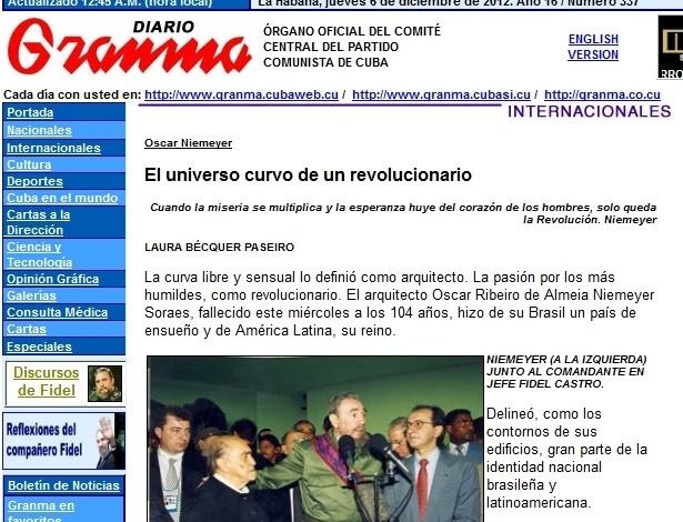 """6.dez.2012 - O site do jornal cubano Granma destaca a morte de Oscar Niemeyer, e afirma que """"a curva livre e sensual o definiu como arquiteto"""""""