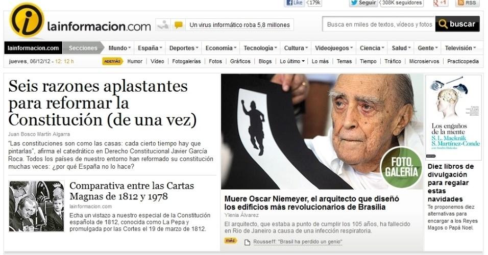 """6.dez.2012 - O site do jornal espanhol La Información noticia a morte do arquiteto Oscar Niemeyer classifica os edifícios projetados pelo arquiteto como """"os mais revolucionários de Brasília"""""""