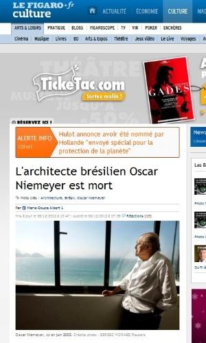 """6.dez.2012 - O site do jornal francês Le Figaro classifica Oscar Niemeyer como um """"idealista e convicto comunista"""" ao noticiar a morte do arquiteto"""
