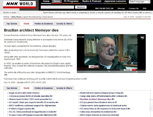 6.dez.2012 - O site em inglês da rede de televisão japonesa NHK também destaca a morte de Oscar Niemeyer