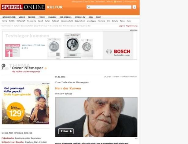 6.dez.2012 - Revista alemã Der Spiegel fala da morte do arquiteto brasileiro Oscar Niemeyer, aos 104 anos, nesta quarta-feira (5). Texto o chama de 'senhor das curvas'