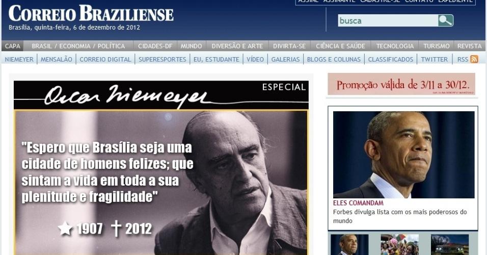 6.dez.2012 - Site do Correio Braziliense destaca a morte do arquiteto Oscar Niemeyer