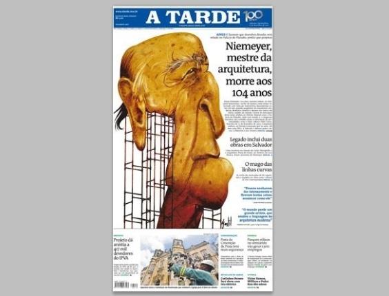 """Capa do jornal baiano """"A Tarde"""" em 6.dez.2012"""