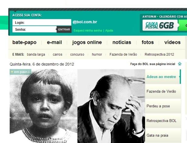 Destaque da Home Page do BOL para a morte do arquiteto Oscar Niemeyer
