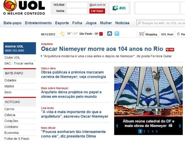 Home Page do UOL destaca a morte do arquiteto Oscar Niemeyer em 5.dez.2012