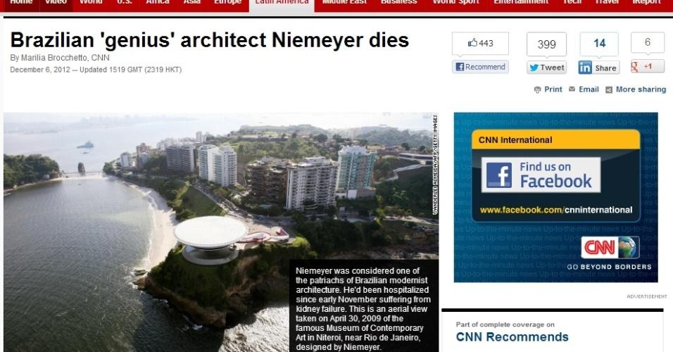 Site da CNN destaca morte do arquiteto brasileiro Oscar Niemeyer