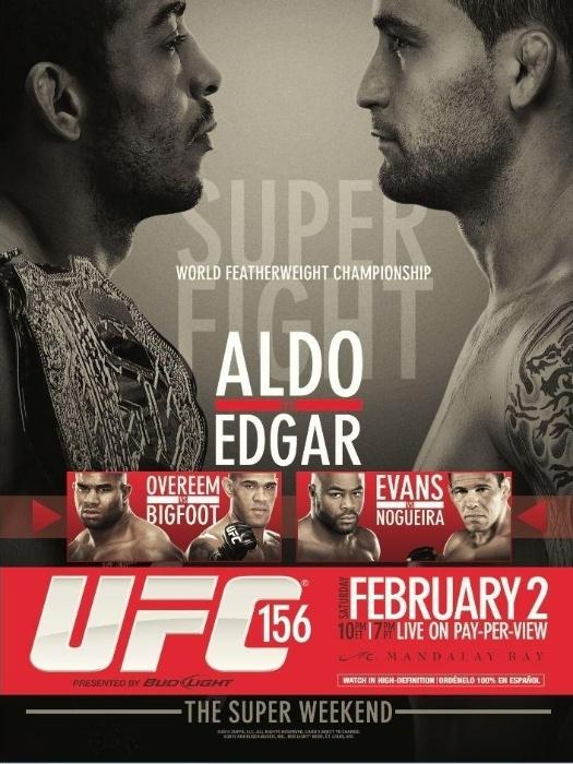 UFC divulgou o pôster do UFC 156, que terá a superluta entre o campeão dos penas José Aldo e o ex-campeão dos leves, Frankie Edgar; Antonio Pezão encara Alistair Overeem e Minotouro pega Rashad Evans no card de Las Vegas