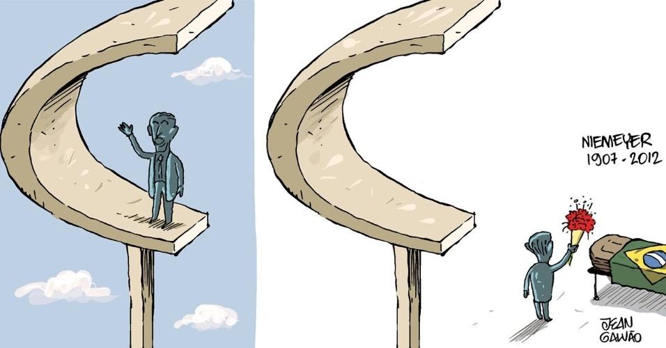 7.dez.2012 - Chargistas brasileiros retratam Oscar Niemeyer