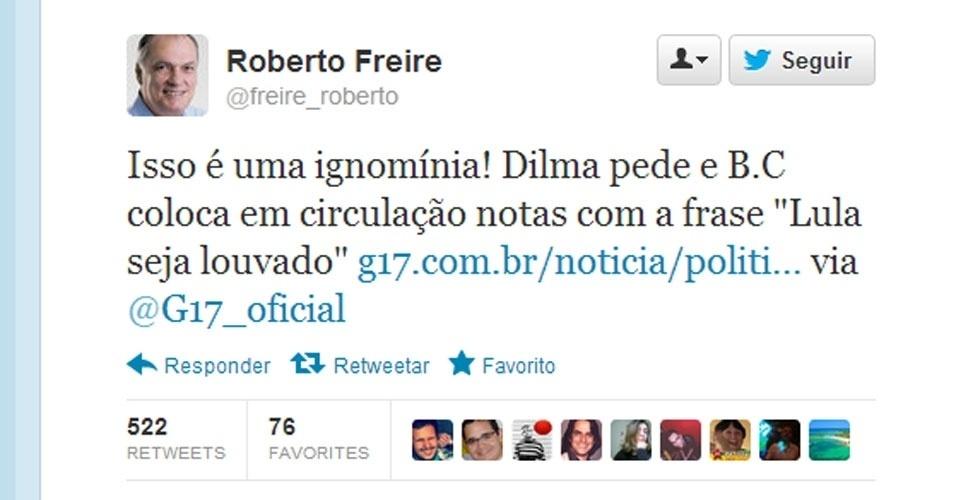 """7.mai.2012 - O deputado federal de São Paulo Roberto Freire virou assunto mais comentado após mostrar indignação com a notícia acima. Bastava ter clicado no link para perceber a brincadeira. O G17 se intitula um site """"sem compromisso com a verdade"""""""