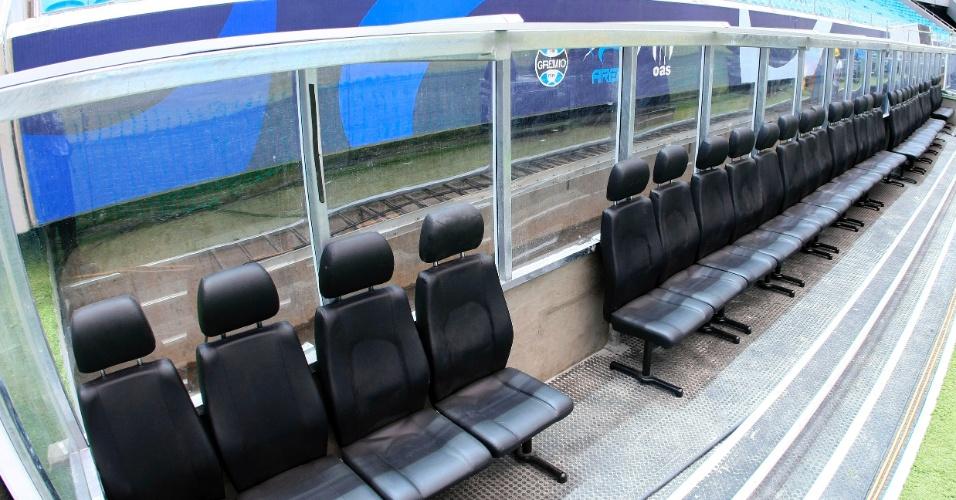 Banco de reservas da Arena do Grêmio, que será inaugurada neste sábado