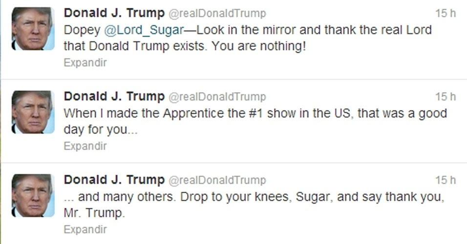 bilionário Donald Trump perde a linha no Twitter