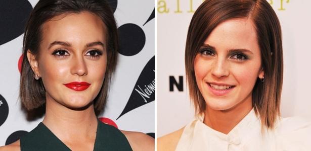 As atrizes Leighton Meester e Emma Watsonr exibem o corte que promete ser sucesso na estação - Getty Images
