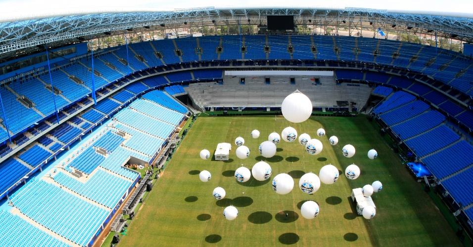 Vista aérea da Arena do Grêmio, novo estádio do clube que será inaugurado no sábado