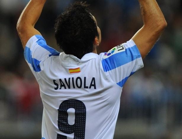 08.dez.2012 - O experiente argentino Javier Saviola comemora gol na vitória de 4 a 0 do Málaga sobre o Granada, pelo Campeonato Espanhol