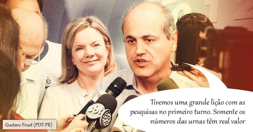 18.out.2012 -  O então candidato do PDT à Prefeitura de Curitiba (PR), Gustavo Fruet, demostrou desconfiança com as pesquisas ao comentar levantamento Datafolha que mostrava que, enquanto tinha 52% das intenções de voto, o adversário Ratinho Jr (PSC) aparecia com 36%