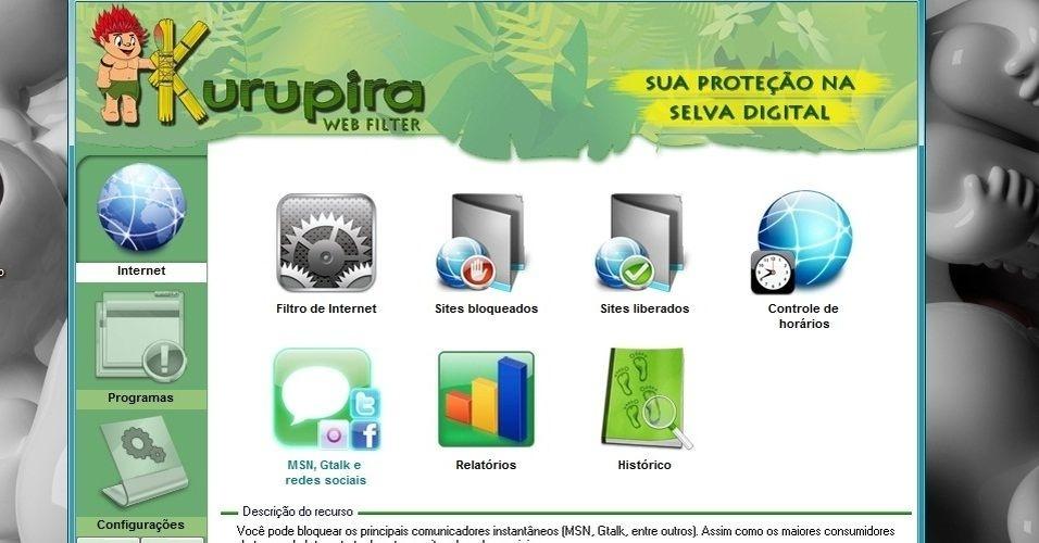 Aparecerão vários ícones. Clique no ícone MSN, Gtalk e redes sociais