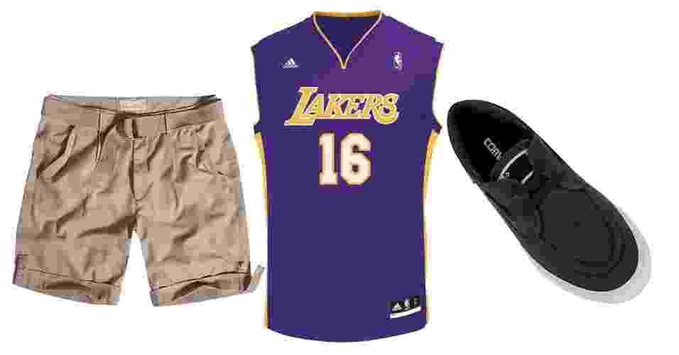 Uma maneira de usar camiseta regata, especialmente as clássicas de basquete, é combinar com bermuda de sarja, para não ficar com cara de uniforme esportivo - Divulgação