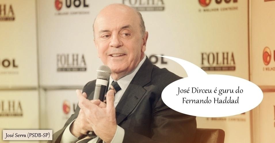 14.set.2012 - Durante sabatina Folha/UOL, o então candidato do PSDB à Prefeitura de São Paulo, José Serra, disse que o ex-ministro da Casa Civil José Dirceu era o