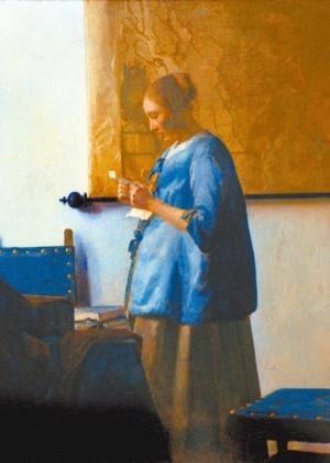 """Pintura do holandês Johannes Vermeer, """"Mulher de Azul Lendo uma Carta"""", que será exposta no MASP - EFE"""