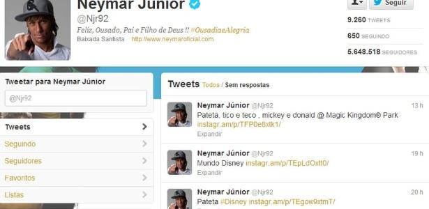 Neymar é um dos atletas da seleção mais assíduos no Twitter