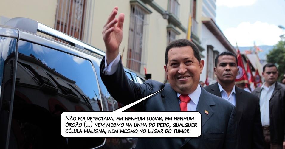 24.jul.2011 - De volta à Venezuela, Chávez revelou em discurso na televisão que os exames que fez na última semana em Cuba não detectaram células cancerígenas