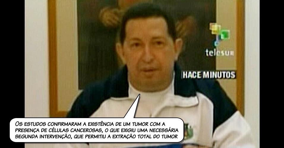 30.jun.2011 - Chávez assume, em pronunciamento na televisão estatal do país, que passou por cirurgia para retirar um tumor
