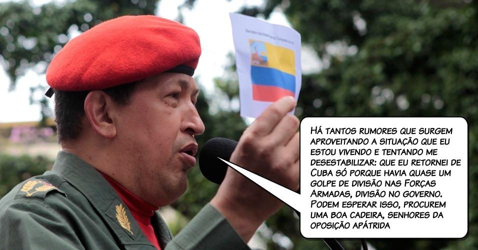 7.jul.2011 - Declaração de Chávez durante um conselho de ministros transmitido pela emissora oficial VTV, ao descartar mudanças tanto em seu gabinete de ministros como no alto comando militar, rejeitando assim rumores sobre mudanças em sua equipe