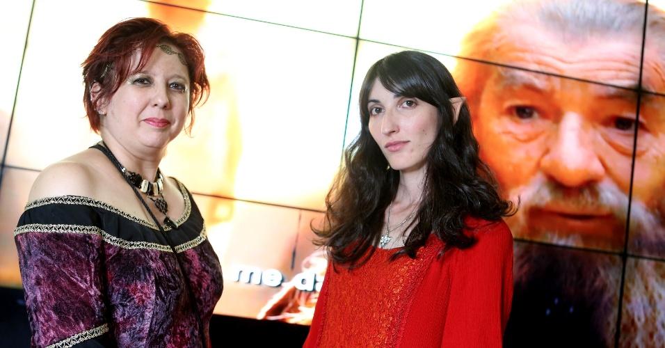 A professora de história Monica Padial e a designer Claudia Soares antes da pre-estreia de