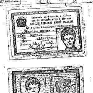Cópia de documento falso (carteira colegial) usado por Dilma Rousseff durante a ditadura militar em nome de Marina Guimarães Garcia; ela viveu na clandestinidade após o golpe de 1964 - Reprodução