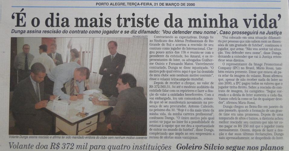 Jornal Correio do Povo noticia rescisão de Dunga com o Inter, em 2000