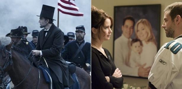 """Daniel Day Lewis em cena de """"Lincoln"""" (esq.) e Jennifer Lawrence e Bradley Cooper em """"O Lado Bom da Vida"""" (dir.) - Divulgação"""
