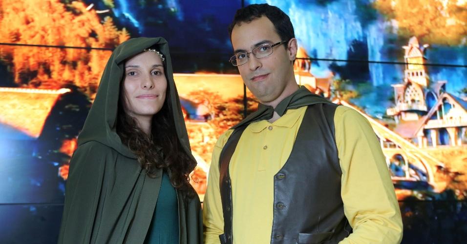 Rosana Mandolin e Gustavo Rodrigues durante a pre-estreia de