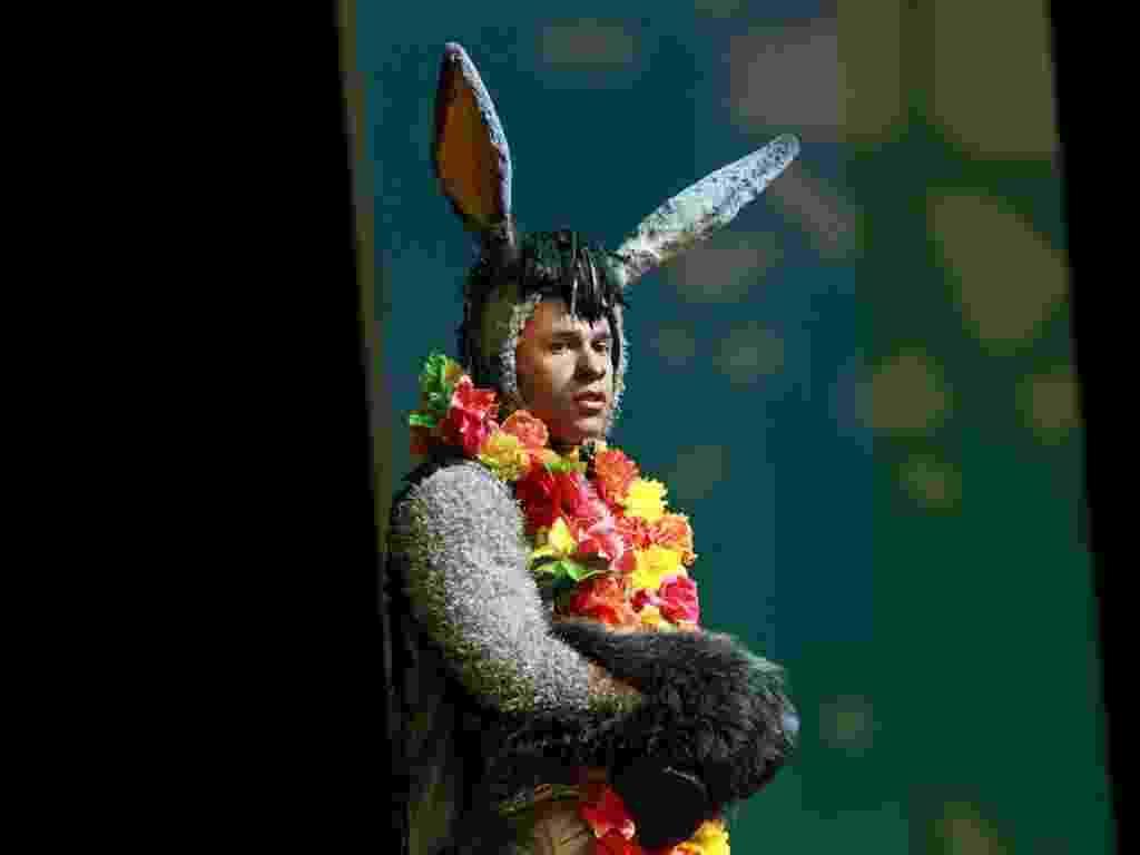"""12.dez.2012 - Rodrigo Sant'Anna interpreta o Burro no musical """"Shrek"""" - Raphael Mesquita/Foto Rio News"""