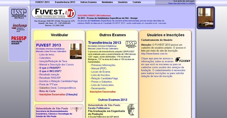 Reprodução do site da Fuvest 2013