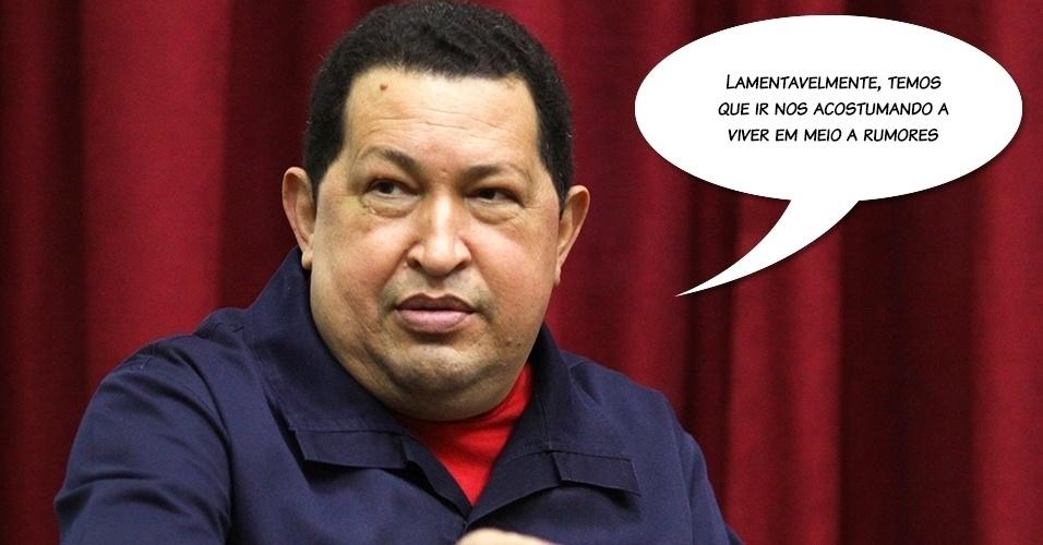 23.abr.2012 - Chávez sobre rumores de que seu estado de saúde teria piorado, em abril de 2012