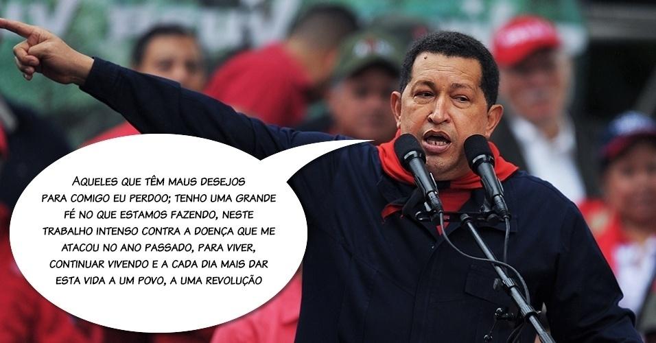 24.abr.2012 - O presidente disse a frase em um vídeo, transmitido em rede obrigatória de rádio e televisão na Venezuela