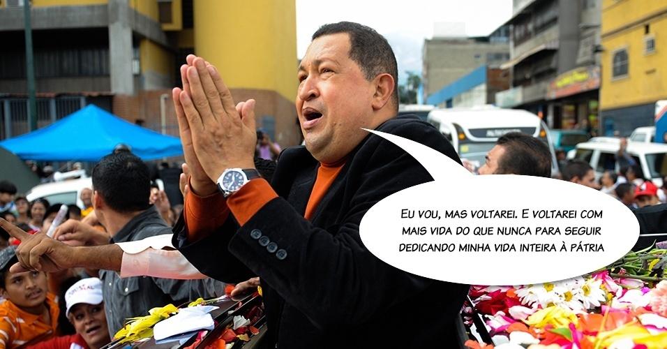 24.fev.2012 - Declaração do presidente antes de partir para Cuba para realizar uma operação de extração de um tumor. Na ocasião, Chávez ganhou chuva de pétalas de rosas próximo ao aeroporto, na Venezuela