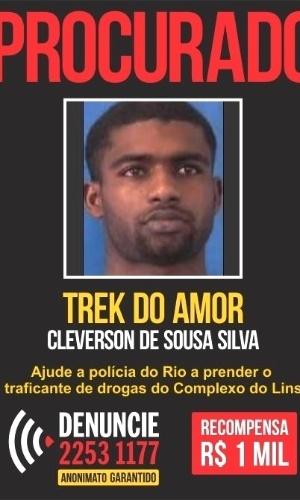 """O acusado de tráfico de drogas Cléverson de Sousa Silva é conhecido como """"Trek do Amor"""" por ser, segundo a polícia, o chefe do tráfico no Morro do Amor, na região do Complexo do Lins, na zona norte do Rio"""