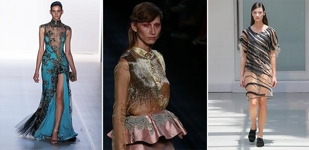 Samuel Cirnansck, R. Rosner e Gloria Coelho apresentaram diferentes peças transparentes bordadas - Alexandre Schneider/UOL