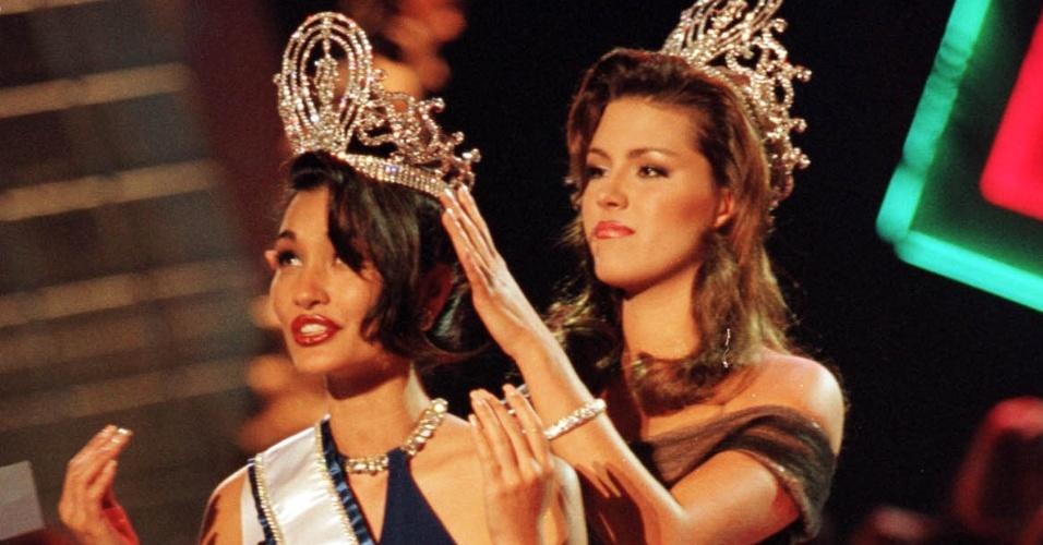 A americana Brook Lee venceu o Miss Universo 1997, realizado em Miami, na Flórida (EUA)