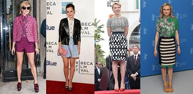 Chloe Sevigny, Emma Watson, Scarlett Johansson e Diane Kruger investem no mix de estampas sem medo - Getty Images