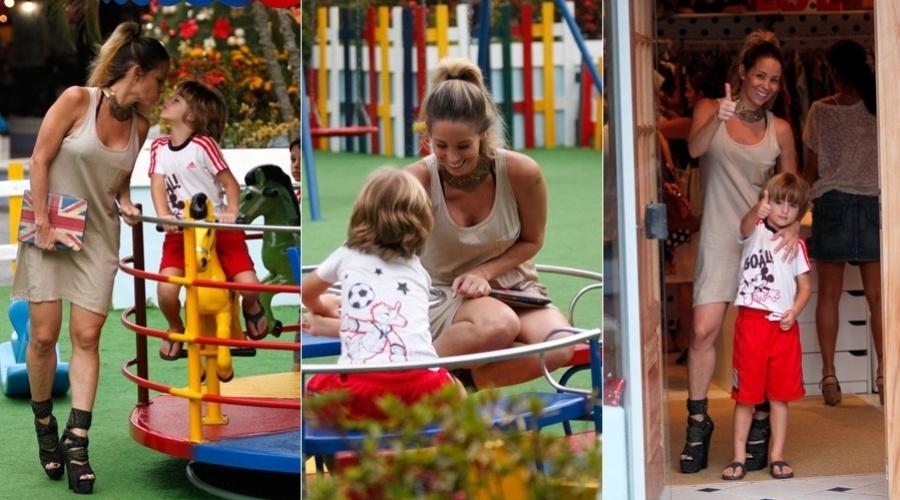 17.dez.2012 - Danielle Winits levou o filho Noah a um parquinho dentro de um shopping na zona oeste do Rio. A atriz também é mãe de Guy