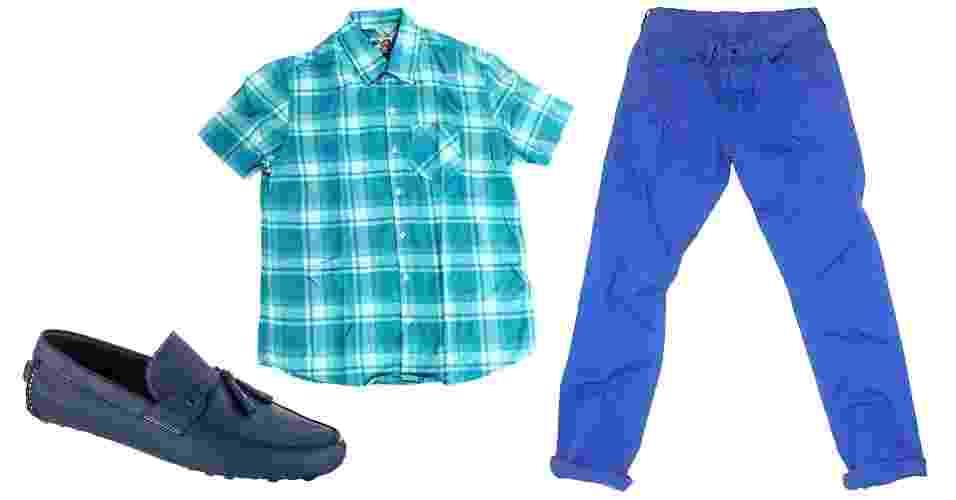 Azul é uma das cores mais fortes do verão e muito fácil de combinar. Vale apostar no conjunto monocromático, valorizado pelo xadrez leve - Divulgação