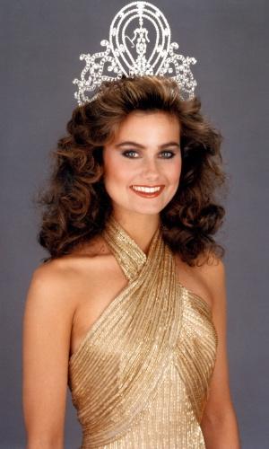 A canadense Karen Baldwin venceu o Miss Universo 1982, realizado em Lima, no Peru
