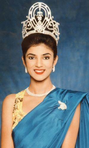 A indiana Sushmita Sen venceu o Miss Universo 1994, realizado em Manila, nas Filipinas