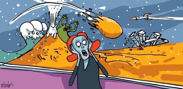 Teorias catastróficas afirmam que terremotos, tsunamis e erupções vulcânicas vão acabar com a Terra  - Orlando/Arte UOL
