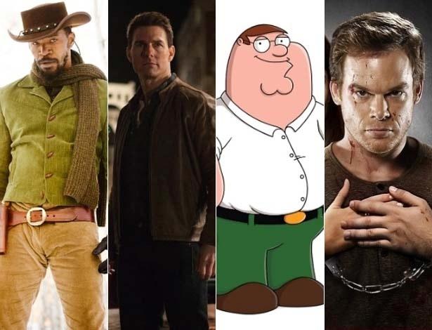 """Jamie Foxx em """"Django Livre"""", Tom Cruise em """"Jack Reacher"""", """"Family Guy"""" e Michael C. Hall em """"Dexter"""" - Reprodução"""